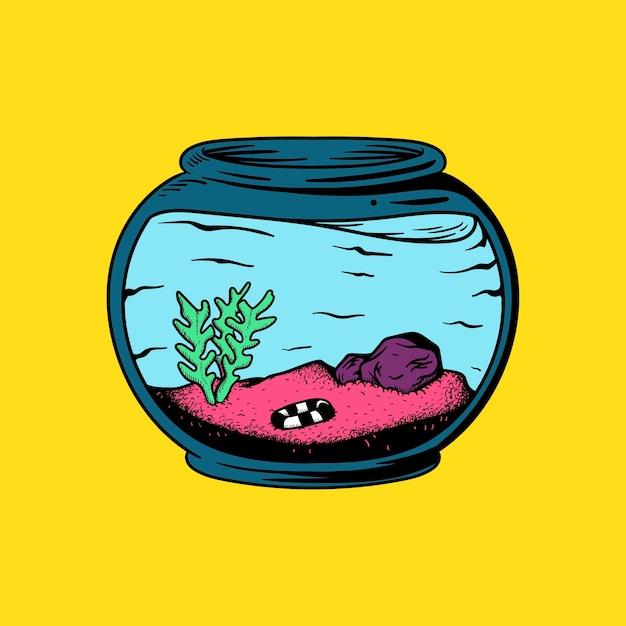 植物と魚のイラストがない空のアクアリウム ベクター画像 プレミアム