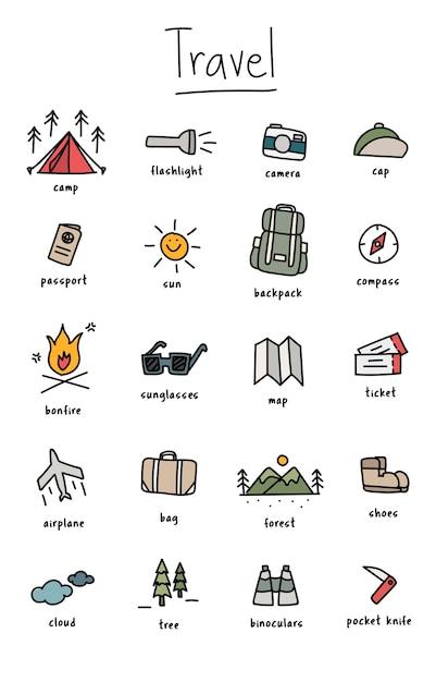 キャンプのアイコンコレクションのイラストの描画スタイル 無料ベクター