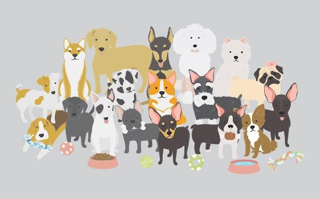 犬のコレクションのイラスト 無料ベクター