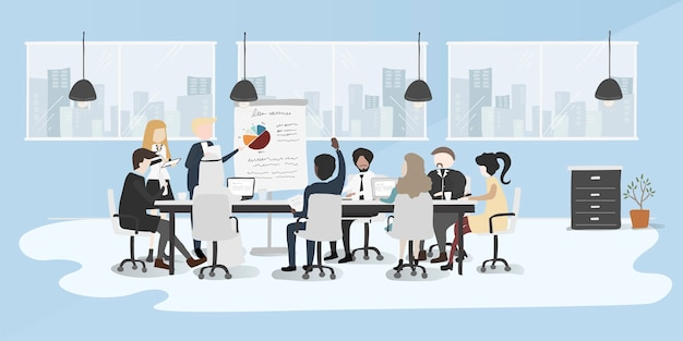 Иллюстрация рисования стиль коллекции деловых людей Бесплатные векторы