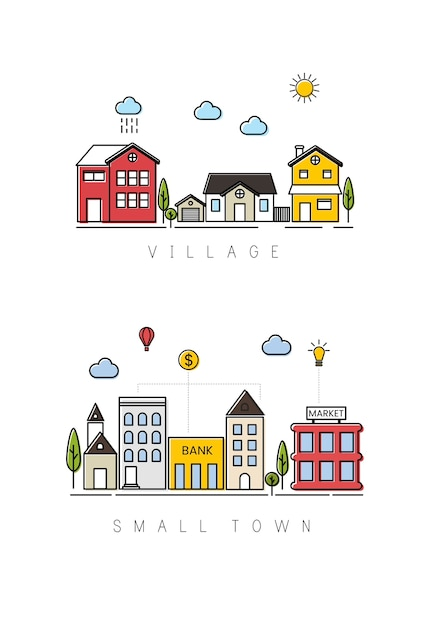 村と小さな町 無料ベクター