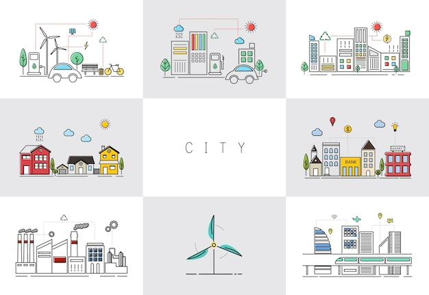 Экологичный вектор города Бесплатные векторы