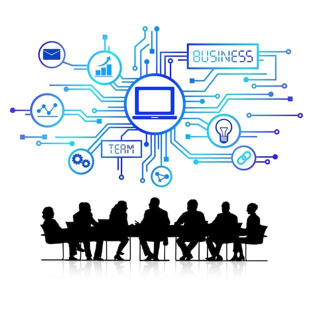 会議でのビジネスマンのイラスト ベクター画像 無料ダウンロード