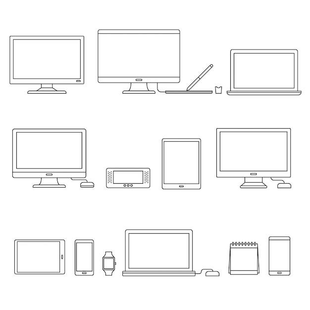Технологические устройства Бесплатные векторы