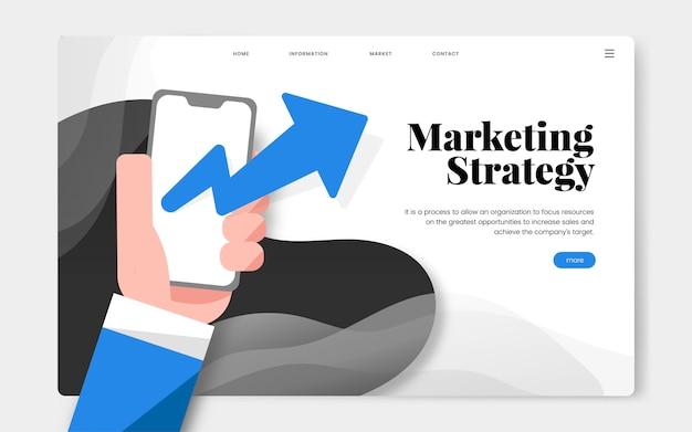 マーケティング戦略情報ウェブサイトのグラフィック 無料ベクター