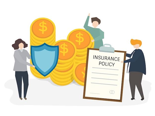 Иллюстрация людей со страховым полисом Бесплатные векторы