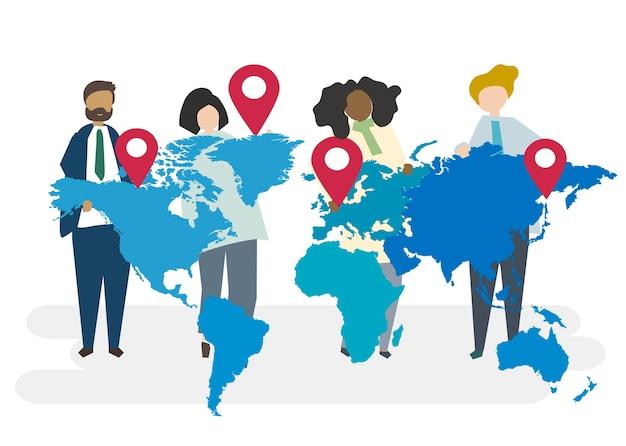 Иллюстрация глобальной концепции бизнеса Бесплатные векторы