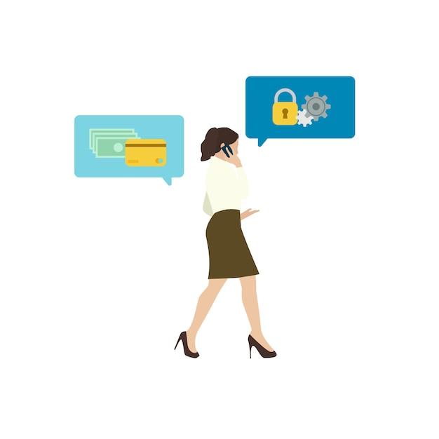 オンラインバンキングのセキュリティを説明するビジネスの女性 無料ベクター