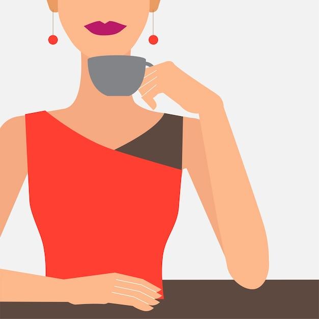 女性、コーヒー、イラスト、カップ 無料ベクター
