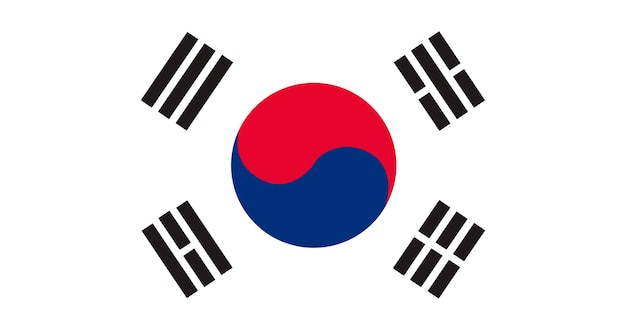 Иллюстрация флага южной кореи Бесплатные векторы