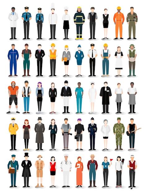様々なキャリアや職業のイラストベクトル 無料ベクター