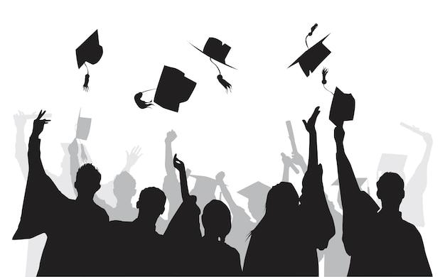 Иллюстрация выпускников университетов Бесплатные векторы
