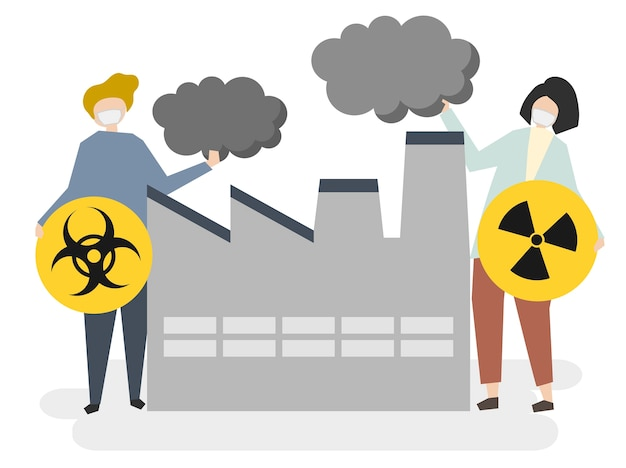 Крупные заводы и загрязнение воздуха Бесплатные векторы