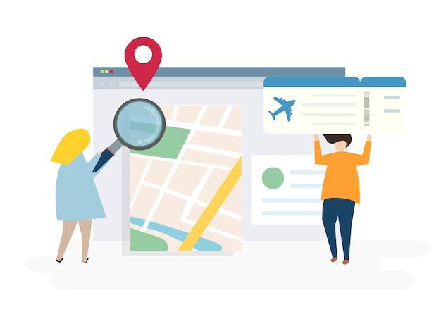 Иллюстрация символов с концепцией путешествия и онлайн-бронирования Бесплатные векторы