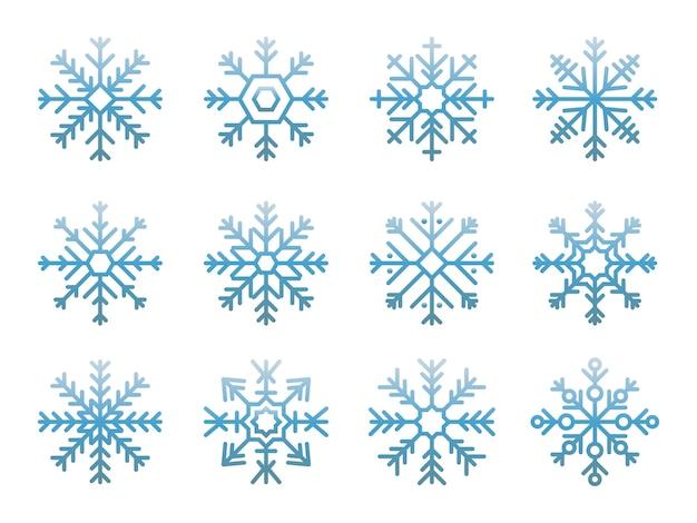 Иллюстрация милые иконки снежинки Бесплатные векторы