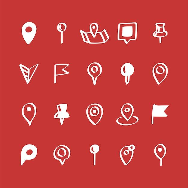 Иллюстрация набор значков контактов карты Бесплатные векторы