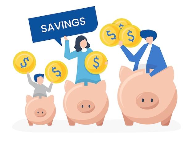貯蓄と貯金箱のアイコンを持つ家族の家族 無料ベクター