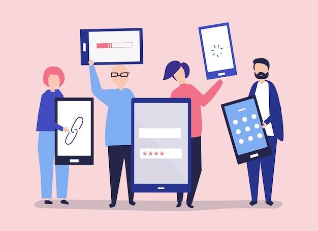 Персонажи людей, держащих гигантские цифровые устройства Бесплатные векторы