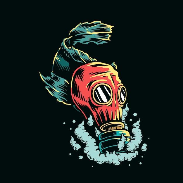 汚染された水のイラストでガスマスクを身に着けている魚 無料ベクター