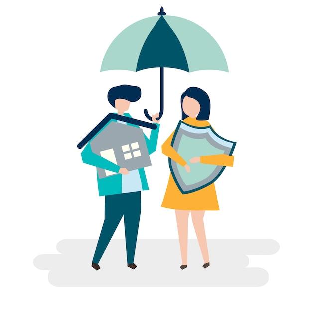 カップルと家保険の概念のイラスト 無料ベクター