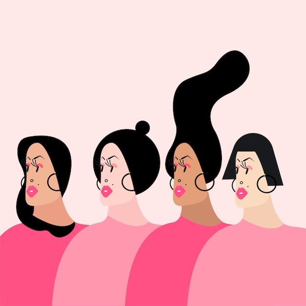 様々な髪型ベクトルのイラストを持つ女性 無料ベクター