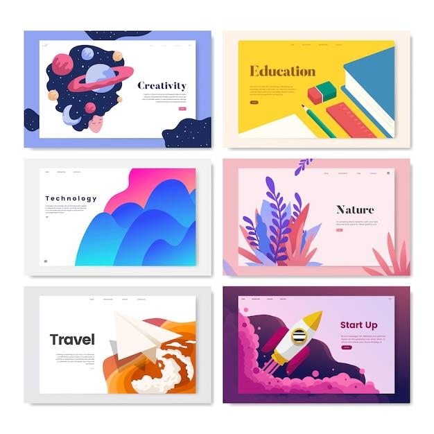 Иллюстрация красочных флаеров Бесплатные векторы