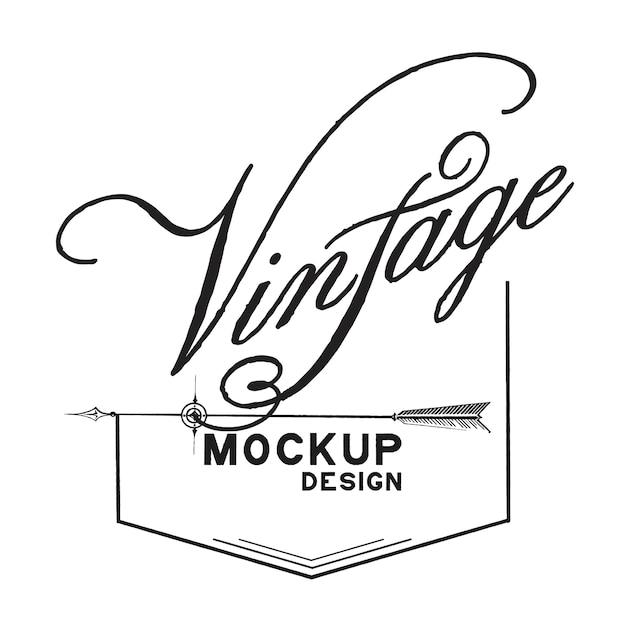 ビンテージモックアップロゴデザインベクトル 無料ベクター