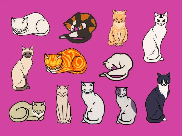猫のセット 無料ベクター