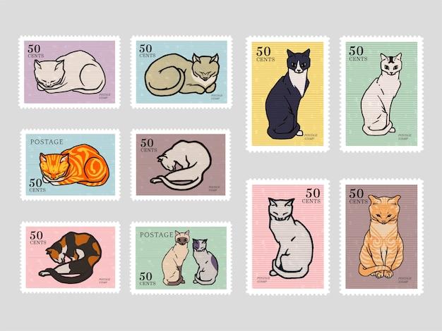 Набор марок с кошками Бесплатные векторы