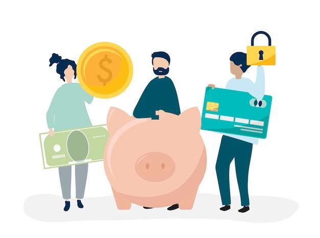 貯蓄とセキュリティのアイコンを持つ人々のイラスト 無料ベクター