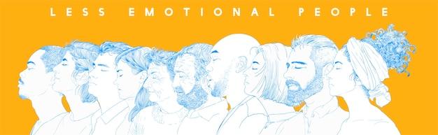 Ручной рисунок иллюстрации человеческих лиц Бесплатные векторы