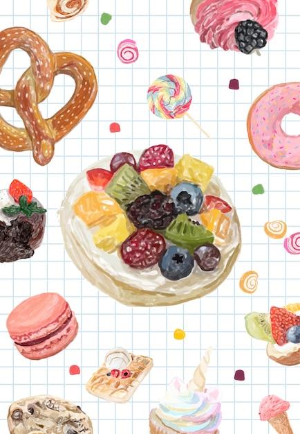 手描きのお菓子コレクションの水彩スタイル 無料ベクター