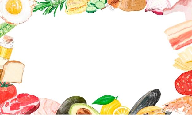 手描きの野菜フレームデザインスペース 無料ベクター