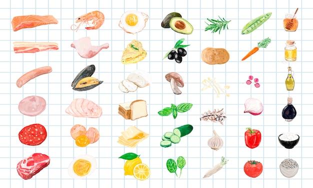 手描きの食材の水彩スタイル 無料ベクター