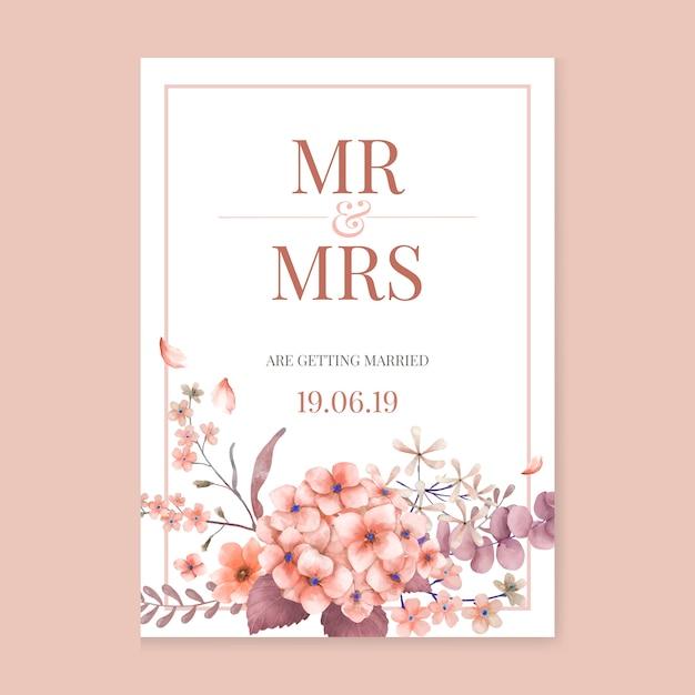 Поздравительная открытка с розовой и цветочной тематикой Бесплатные векторы