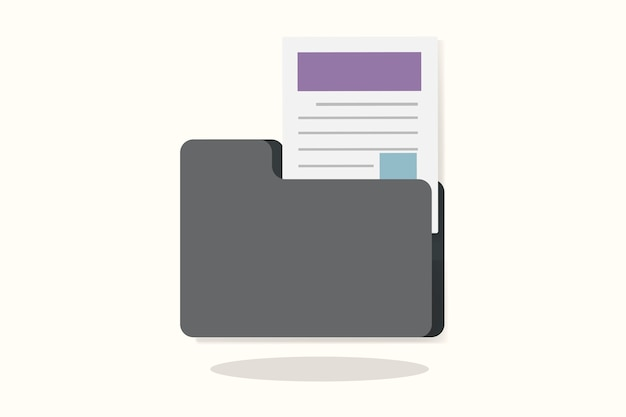Иллюстрация папки с документом Бесплатные векторы
