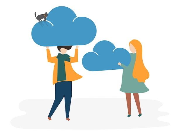 Иллюстрация концепции социальной сети аватара Бесплатные векторы