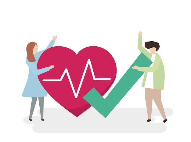 健康な心臓を持つ人々のイラスト 無料ベクター