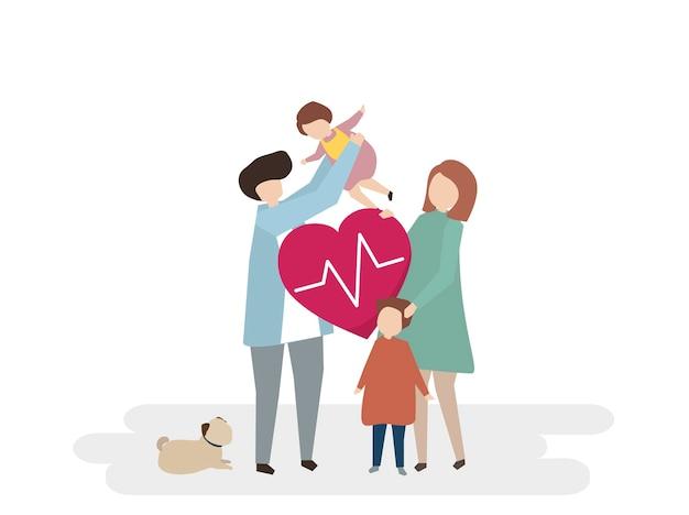 家族の健康管理のイラスト 無料ベクター