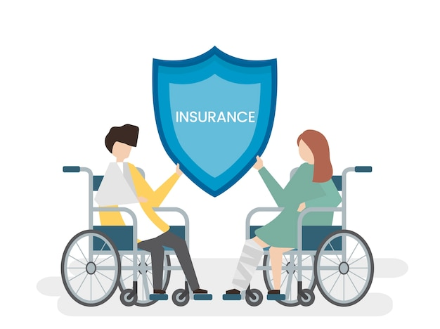 健康保険サービスを持つ人々のイラスト 無料ベクター