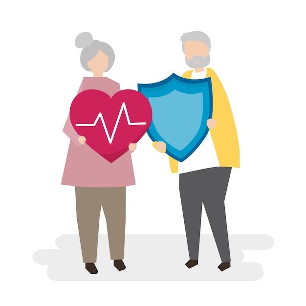 Иллюстрация пожилых людей со страхованием Бесплатные векторы