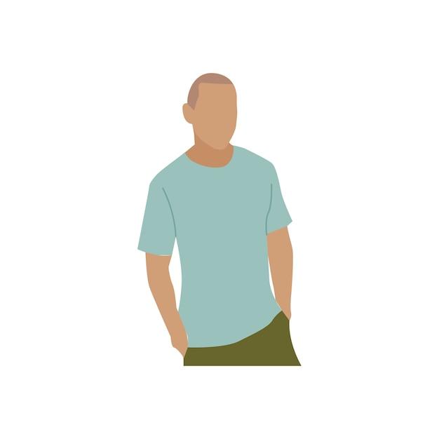 カジュアルウェアで描かれた成熟した男 無料ベクター
