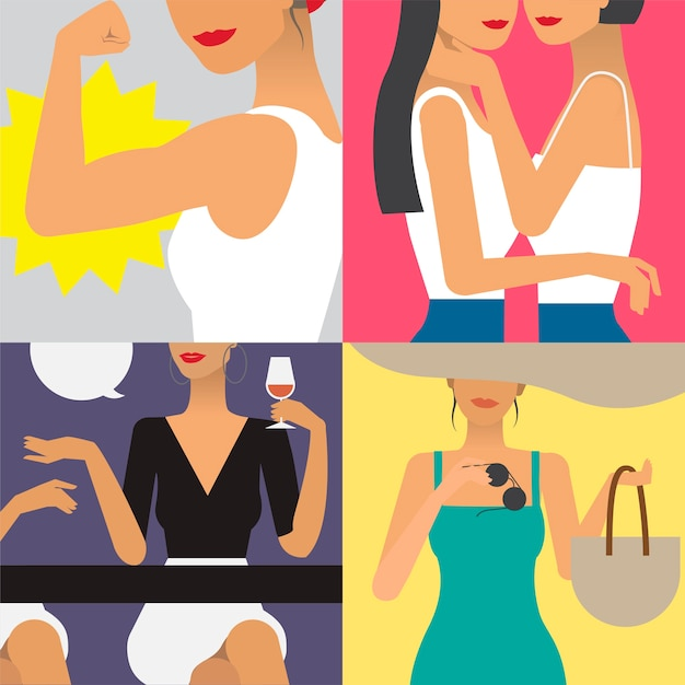 Символьная иллюстрация жизни женщины Бесплатные векторы