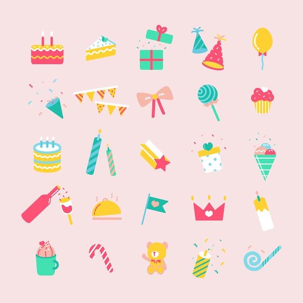 誕生日パーティーのアイコンのイラストセット ベクター画像 無料