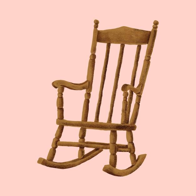деревянное кресло качалка вектор скачать