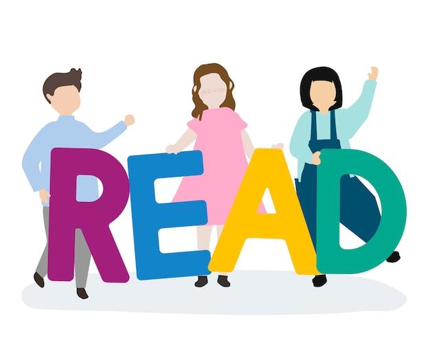 子供たちは英語を読むために傾いている 無料ベクター