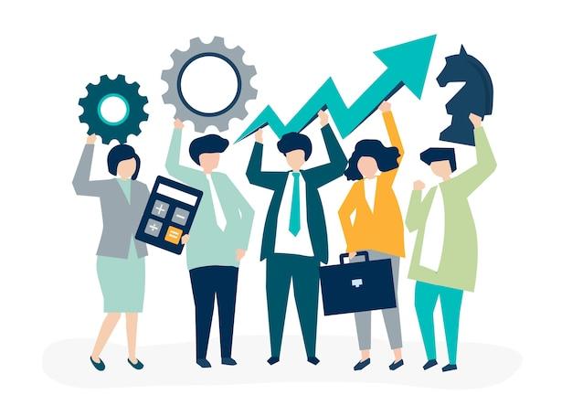 Иллюстрация развития бизнеса и стратегии Бесплатные векторы