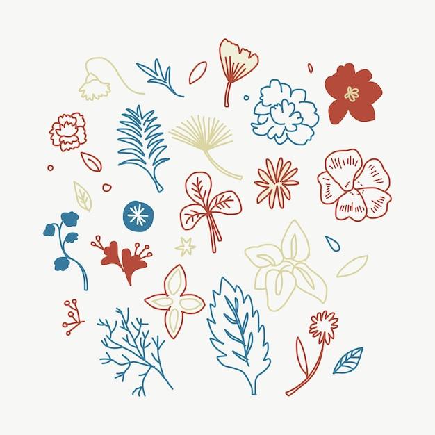 カラフルな花と葉のイラスト 無料ベクター