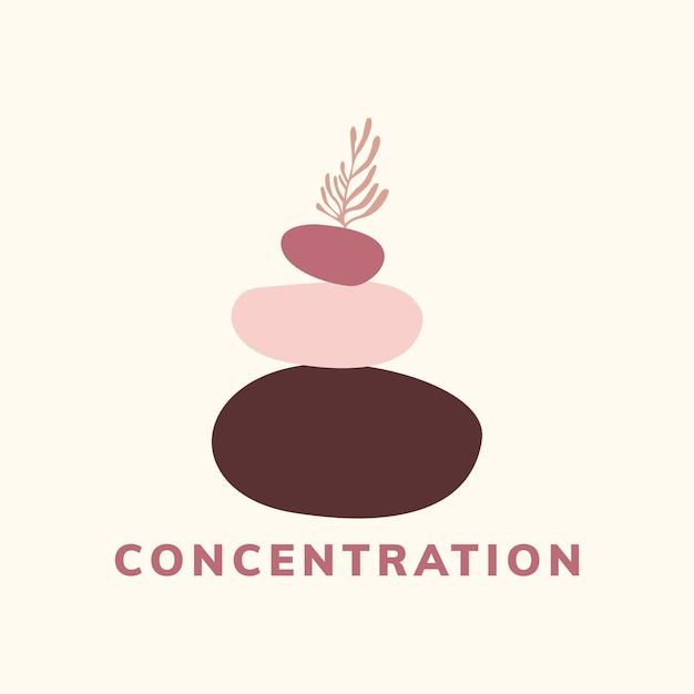 集中と瞑想のアイコンベクトル 無料ベクター