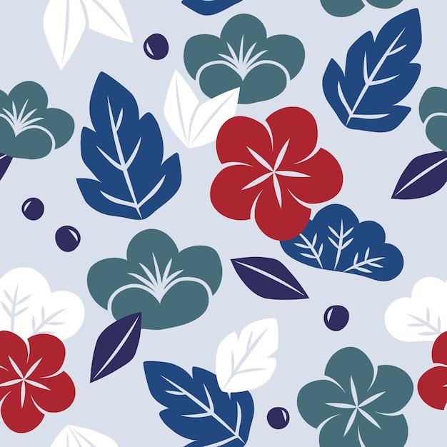 シームレスな日本のスタイルの花柄のベクトル 無料ベクター
